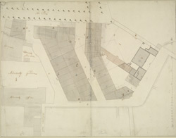 [Drawn plan of Spring Gardens, with the adjoining property]